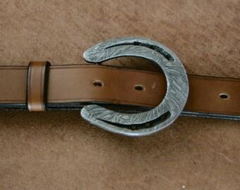 Handmade Damascus steel horseshoe belt buckle