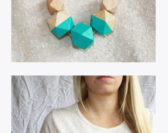 Turquoise geometric wooden necklace