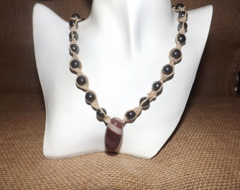 Shiva Stone Pendant, Hematite beads, Knotted Hemp Necklace