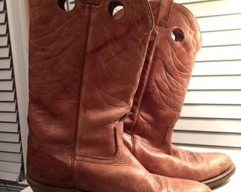 vintage tan leather cowboy boots/ womens size 8/8.5