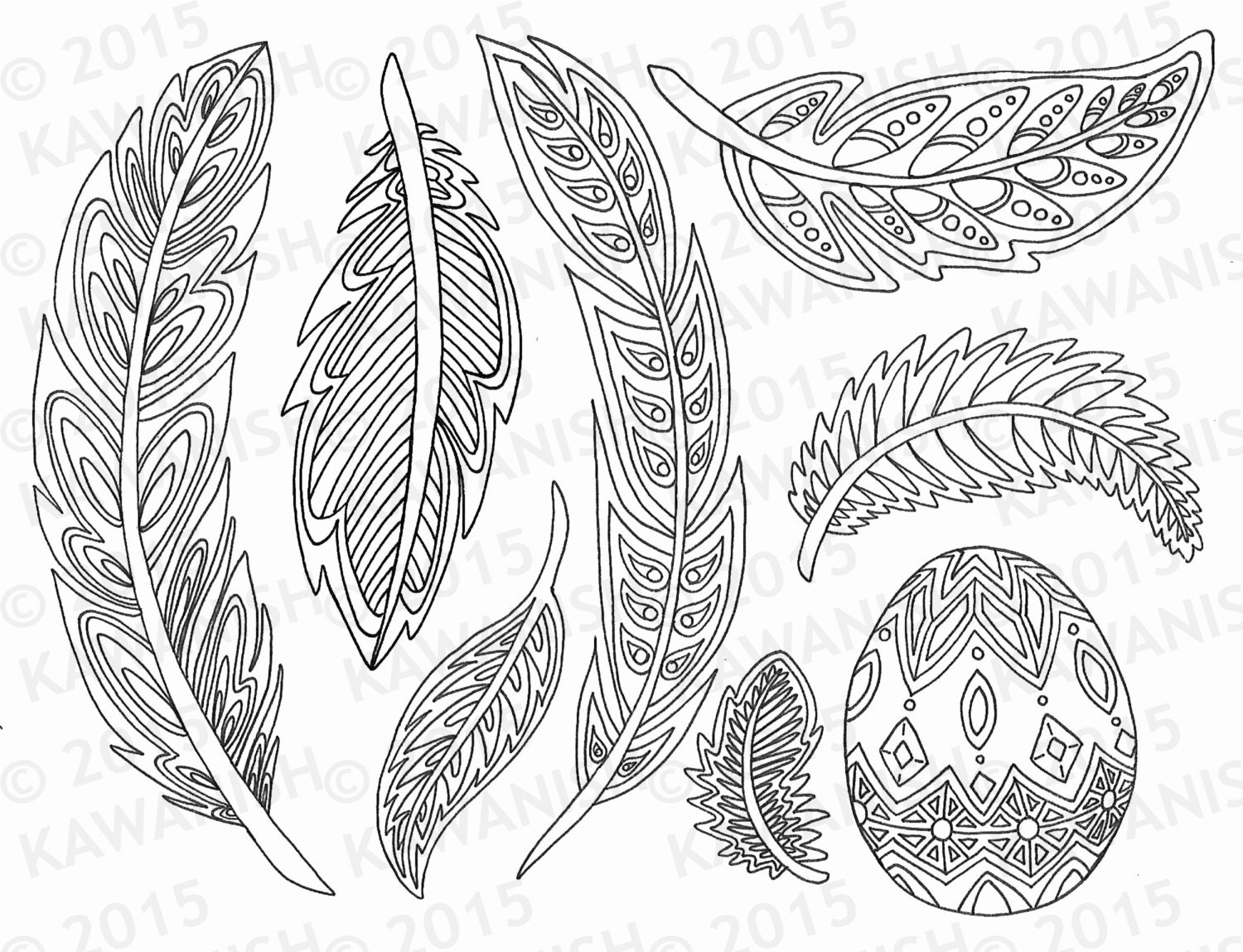 Feathers coloring page gift wall art line drawing for Coloring pages of feathers