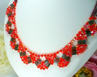 Red Crystal Necklace Swarovski and Toho beads hand-woven