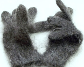 Warm knitted wool winter gloves gray | Goat Down |