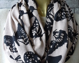 Butterfly Print Scarf / Infinity Scarf Loop , Women Fashion Accessories, Scarf, gift ideas, circle scarf