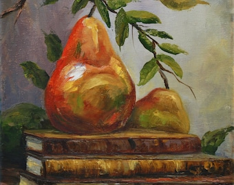 Original Oil Painting - Books and Pears Palette knife painting