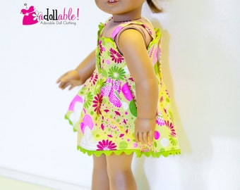 American made Girl Doll Clothes, 18 inch Girl Doll Clothing, Pink and Green Sundress made to fit like American girl doll clothes