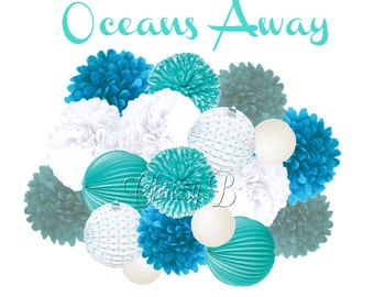 Ocean Themed Party Decorations - Deluxe Accordion Lantern & Tissue Pom Kit - Aqua, Ocean Blue, White - OCEANS AWAY birthday party theme
