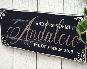 Rustic Family Name Sign, Personalized with Last Name, Family Established Sign, Perfect Wedding Gift, Anniversary Gift, Rustic, Primitive