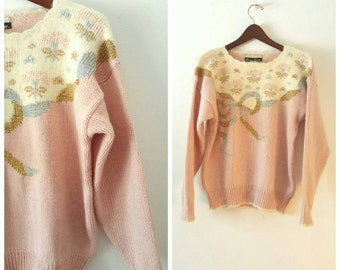 SALE ! reduced price: Vintage 80s elegant pink pullover size M