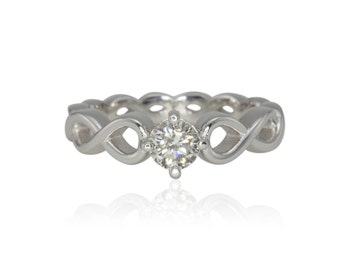 Infinity Ring - 15% off - OBO - Infinity Loop Diamond Solitaire Engagement Ring in 14k White Gold - On Clearance from Laurie Sarah - LS4190