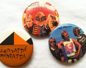 Vintage 1983 The Police band pinback buttons - lot of 3