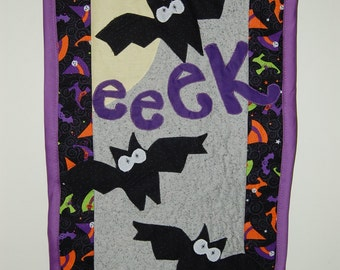 Halloween Bats Appliqued and Quilted Wall Hanging