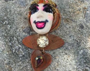Vintage Smiling Gypsy Lady Brooch
