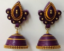 Handmade Quilled Jhumkas, paper quilled jhumkas, indian earrings, paper quilled earrings, paper quilling jewelry, paper jewelry