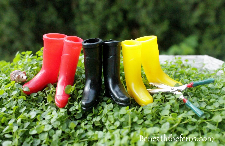 Miniatur garten stiefel fee g rten zubeh r gummi boot set in - Miniatur garten ...