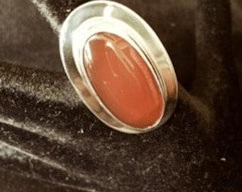 Carnelian & sterling silver ring