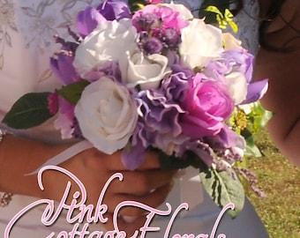 Victorian Garden Bridal Bouquet. Hand Tied Bridal Bouquet. Garden Wedding Silk Bouquet Tulips Roses Hydrangea Heather Pink  Lavender
