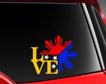 """Filipino Vinyl Car Decal Sticker 4.75"""" (w) Unique I Love Philippine Flag design"""