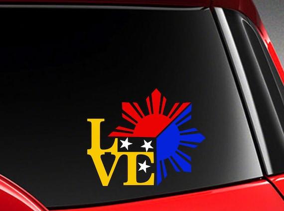 Filipino vinyl car decal sticker 4 75 w unique i love philippine flag design from infinityhaven on etsy studio