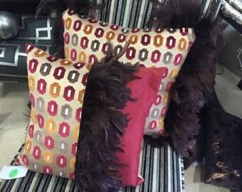 Multi Colour feather cushion