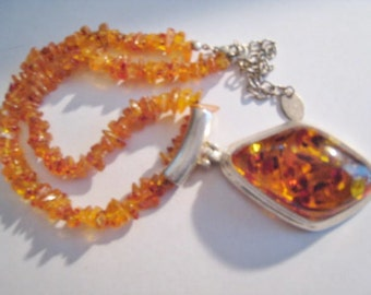 Amber Chips Necklace with Drop