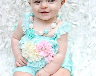 Petite romper with removable sash and matching headband