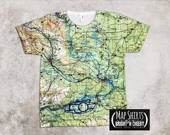 Columbia River All over Print Map T Shirt washington state gift, family travel, topographic map t shirt, travel gift