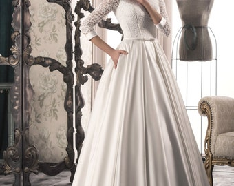 Handmade Elegant, White/Ivory Wedding Dress with Sleeves, Lace Up that Features Illusion Neckline,Bow Tie Front, A line,Buy Online