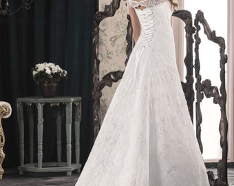 Sale Throughout February,Romantic, Corset, Elegant Lace White/Ivory Wedding Dress that Features Illusion Neckline, Gown with sleeves,Buy Onl