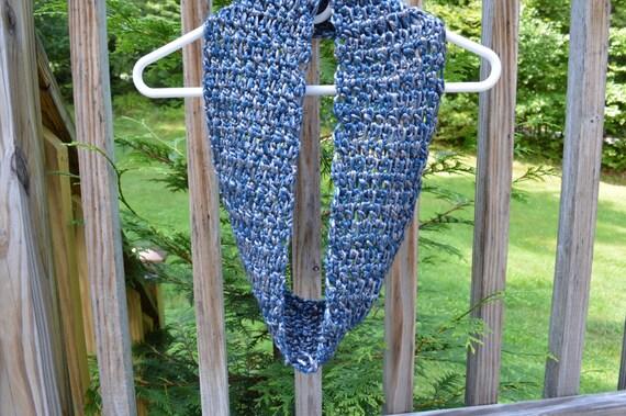 Metallic Blue and Silver Scarf and Headband, Circular Scarf, Infinity Scarf, Warm Winter Scarf, Stylish Scarf, Stylish Crochet Scarf