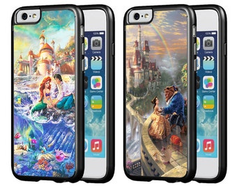 Disney The Little Mermaid Beauty and the Beast Protective Phone Case 2 Pack for iPhone 5/5s iPhone 6/6s iPhone 6/6s Plus