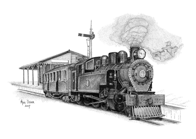 Canvas Art Print Steam Locomotive Train stippling drawing