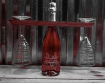 Wine bottle and glass caddie
