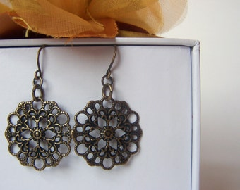 Antiqued Brass Lightweight Round Filigree Earrings, Antiqued Brass Ear Wires