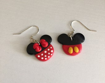 Disney's Mickey and Minnie Mouse Dangle Earrings. Handmade Mickey and Minnie Mouse Earrings. Minnie Mouse. Mickey Mouse. Nickel Free.
