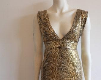 beautiful 90s Gold leaf sequin Full length dress