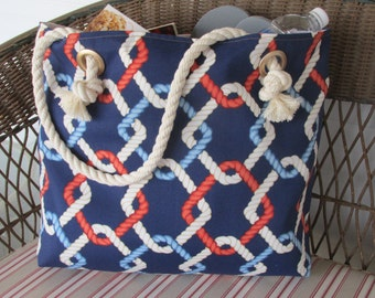 Nautical Beach Bag Large Red White and Blue Vacation Bag Pool Bag Swim Bag Cruise Tote Bag