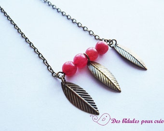 Kit DIY necklace with red beads and leafs