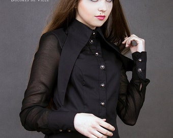 black gothic shirt long collar goth victorian chiffon military visual kei