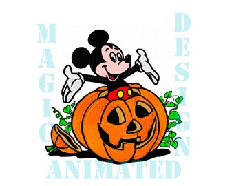Mickey Mouse Halloween Embroidery Design in 6X9 ---Instant download---
