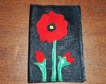 Passport cover, Leather, Handmade,poppies, red poppies