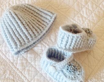 Handmade Blue Crochet Baby Boy Booties and Hat