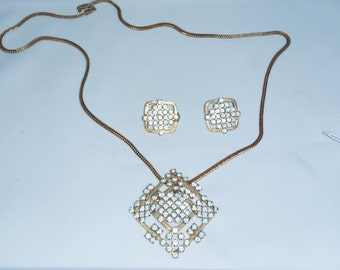 Vintage Park Lane Rhinestone Pendant Necklace & Earrings