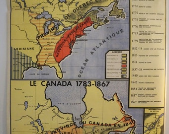 Map wall school Vintage original CANADA 1763-1783-1783-1867 (1970