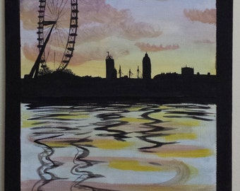 London eye and Thames silhouette