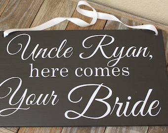 Uncle Here Comes Your Bride Sign, Here Comes the Bride Sign, Ring Bearer, Flower Girl, Wedding Sign with Ribbon, Here Comes My Mommy