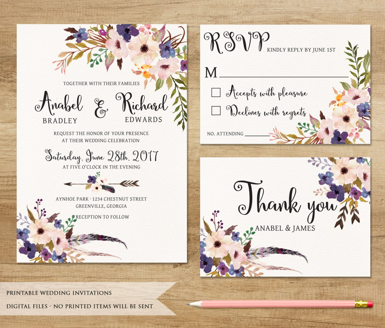 Floral Wedding Invitation. Printable Wedding Invitation