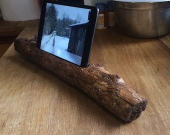 Salvaged pecan wood iPad mini stand.