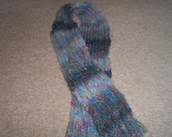 Hand knitted grey fleck scarf
