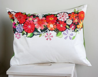 Artwork cushion with red floral print